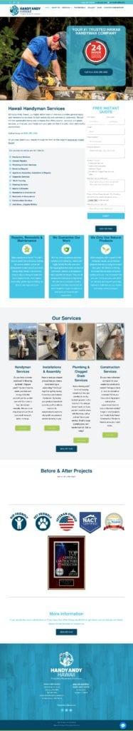 Handy Andy Hawaii Website Design